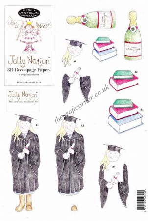Graduate Lady Jolly Nation Die Cut 3D Decoupage Sheet